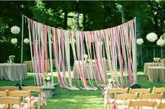 streamers for an outdoor photobooth backdrop :)