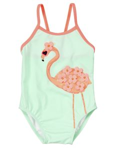 Sweet flamingo pal adds fun tropical fashion to this baby swimsuit