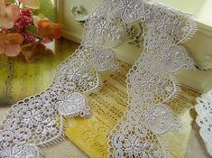 Grey Venice Lace Retro Hollowed Out Lace Trim 2.1 Inches Wide 2 Yards Costume Headware Supplies For crowns