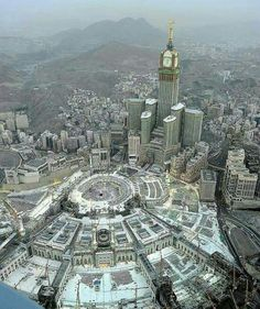 "islamicthinking: "" Aerial view of the Masjid-Al-Haram, Makkah. Mecca Masjid, Masjid Al Haram, Allah, Vancouver City, Saints, Mekkah, Grand Mosque, Aerial View, Empire State Building"