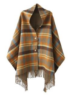 Shop Multi Plaid Scarf Poncho With Tassels from choies.com .Free shipping Worldwide.$24.99