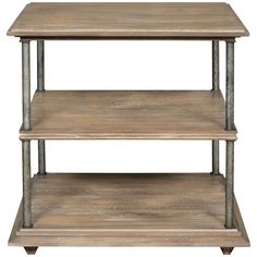 "Vanguard Furniture Milo Lamp Table. Details: - Metal posts - Wood top and shelves - Materials: White Cedar Solids and Veneer, Metal Dimensions: - Overall: 28"" w x 28"" d x 28.5"" h - Weight: 87 pounds"