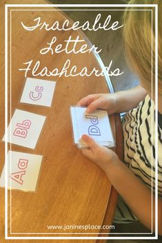 These traceable letter flashcards can be used to help children identify upper and lower case letters. Print this PDF in portrait at You can then laminate them or use contact paper to make them wipeable using a dry erase marker. Letter Flashcards, Contact Paper, Dry Erase Markers, Lower Case Letters, Rainbow Colors, Homeschool, Pdf, Lettering, Portrait