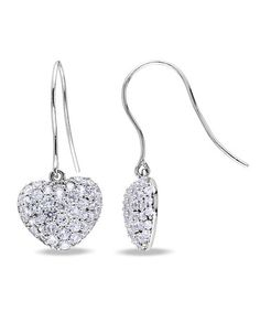 Another great find on #zulily! White Sapphire & Sterling Silver Heart Drop Earrings #zulilyfinds