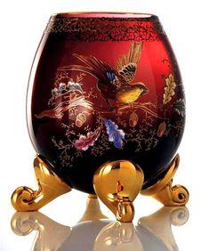 Váza * červené sklo ručně malované a zdobené zlatem