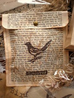Use old book pages to make envelopes for cards or simple gifts... From Vintage with Laces: Lots of Birds and some Flea Market Finds