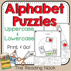 Alphabet Puzzles - This is a fun set of 26 worksheets including all the Uppercase and Lowercase alphabet letters A-Z with 6 pieces for students to color, cut out and paste on the corresponding sections of the letter. This is great for preschool, Pre-K, Kindergarten, special education or homeschool classrooms.