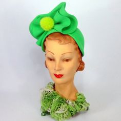Reproduction 1940s Style Bright Green by NouveauHatsbySharon