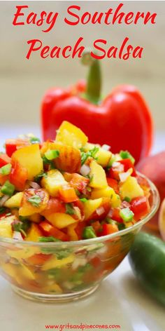All it takes is one taste of this sweet and savory Easy Southern Fresh Peach Salsa and you will be enamored This quick and easy healthy recipe calls for fresh luscious sw. Peach Salsa Recipes, Fruit Recipes, Summer Recipes, Mexican Food Recipes, Appetizer Recipes, Appetizers, Peach Recipes Dinner, Fresh Peach Recipes, Recipes