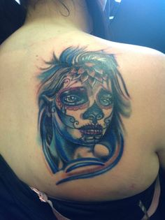 Day of the Dead girl- Done at Modz'N'Rockers Blackpool! #Amazing #Dayofthedead #Colour #Portrait #Tattoo #Freehand #Custom