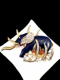 Vintage Hattie Carnegie Navy Blue Enamel Crystal Rhinestone Elephant Brooch Pin | eBay