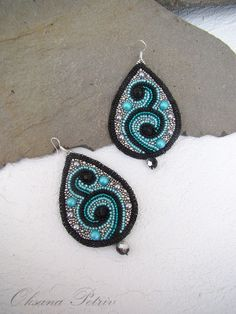 Beaded earrings. Bead embroidered earrings. Dangle by OPGDesign