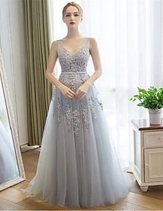 75f01c99b6956c [$99.99] Sheath / Column V Neck Sweep / Brush Train Lace / Tulle Beautiful  Back Prom / Formal Evening Dress with Appliques by TS Couture®
