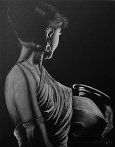 Rupa's art gallery, how-to videos Abstract Pencil Drawings, Pencil Drawings Of Flowers, Pencil Portrait Drawing, Creative Pencil Drawings, Art Pencil Set, Colored Pencil Artwork, Black And White Art Drawing, Black Paper Drawing, Indian Art Paintings