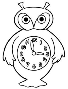 Simple Shapes Coloring Pages Kids Owl Clock Featuring Hundreds Of Pre K