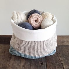 Crocheted yarn basket just finished