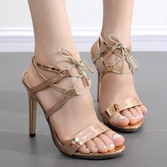 Metallic Colour Tie Up Sandals Tie Up Sandals, Cheap Sandals, Patent Leather Style, Leather Fashion, Ankle Strap Heels, Ankle Straps, Pump Shoes, Shoe Boots, Pumps