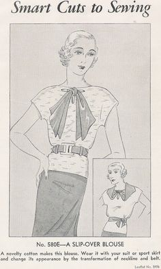 Sewing Vintage: Make a Nifty Blouse, free pattern for 1930s shirt with quick changes to the accessories for two looks