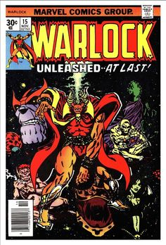 (By Jim Starlin Leialoha. by Jim Starlin! Warlock Starlin writes and draws it. (Starlin does issues are by Jim Starlin. first Cocoon/HIM/Adam Warlock ! Adam Warlock, Warlock Marvel, Marvel Comic Character, Marvel Comic Books, Comic Books Art, Comic Art, Old Comics, Vintage Comics, Comic Book Artists