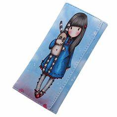 Koly Portefeuille En Cuir PU Pour Femme Femmes Cartoon Graffiti LORI Fille Longue Porte-Monnaie Sac à Main (19cm(L)×8cm(H)×2.5cm(W), Bleu):…