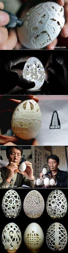 Chinese artist Wen Fuliang makes art out of egg shells