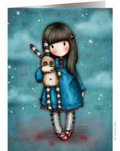 """""""Hush Little Bunny"""" Gorjuss Card (She has her hand over his mouth:)"""