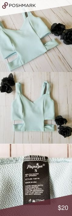 Sky blue crop top with cut out sides Super cute sky blue crop top with cut out sides Papaya Tops Crop Tops