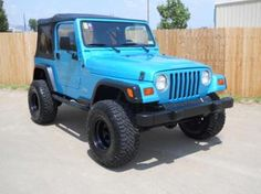 I would drive this Aqua blue jeep Blue Jeep Wrangler, Jeep Wrangler For Sale, Jeep Tj, Jeep Truck, Chevy Trucks, Cj5 Jeep, My Dream Car, Dream Cars, Badass Jeep