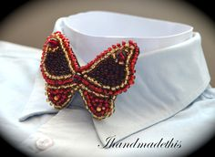 Red beaded butterfly bow tie beads embroidery by Ihandmadethis Handmade Jewelry, Unique Jewelry, Handmade Gifts, Women Bow Tie, Red Glass, Metal Beads, Beaded Embroidery, Dark Red, Seed Beads