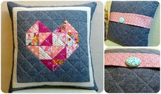 Heart cushion Heart Cushion, Cushions, Pillows, Mini Quilts, Quilting, Blanket, Sewing, Projects, Pattern