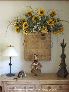 Pretty wall basket that she changes seasonally - Evi's Country Snippets