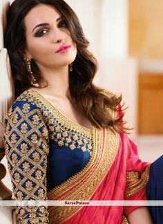 Buy Angelic Hot Pink and Navy Blue Resham Work Art Silk Half N Half Designer Saree Online Wedding Saree Blouse Designs, Pattu Saree Blouse Designs, Fancy Blouse Designs, Saree Wedding, Sari Design, Stylish Blouse Design, Designer Sarees Online, Bleu Marine, Rose