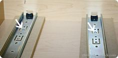 diy slide out drawer Pull Out Kitchen Shelves, Diy Pull Out Shelves, Slide Out Shelves, Kitchen Cabinet Storage, Kitchen Drawers, Easy Woodworking Projects, Woodworking Shop, Woodworking Plans, Diy Slides