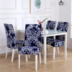Printed Chair Cover Spandex Elastic Seat Covers Removable Stretch Banquet Hotel for sale online Dining Room Chair Covers, Dining Room Chairs, Barndominium, Patterned Dining Chairs, Dyi, Stretch Chair Covers, Seat Covers, Reupholster Furniture, Stylish Chairs