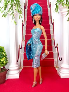 Barbie Doll Dress - Aquamarine Doll Dress with Hat, Shawl, Earrings, Purse, and Shoes by EnchantedStyles on Etsy