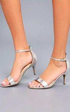 Lilith Silver Ankle Strap Heels #silveranklestrapsheels #sandalsheelsanklestrap