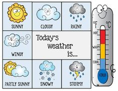 Daily Weather Chart 2 Preschool Weather Chart, Weather Activities Preschool, Weather Worksheets, Circle Time Activities, Pre K Activities, Weather Like Today, Daily Weather, All About Me Preschool Theme, Disney Crafts For Kids