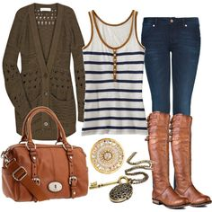 Boots! ~~ Love it. So cute. Try adding a light blue, pink, or dark purple sweater for a super cute spring look.