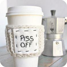 Funny Coffee Cozy Tea Travel Mug Piss Off black white crochet handmade mens cover Starbucks Cup on Etsy, $16.00