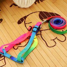 1 PCS Adjustable Rainbow color Pet Dog Leash Small Puppy Cat Rabbit Kitten Nylon Leash Harness Collar Lead