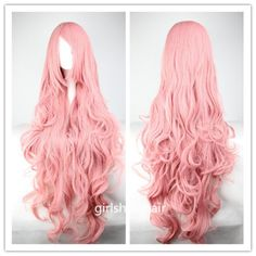 Pink Wig Cosplay Wigs Curly Wigs for Women 33.5 inches Harajuku anime Long Costume Wigs with Side Bangs Christmas KARNEVAL jaiA