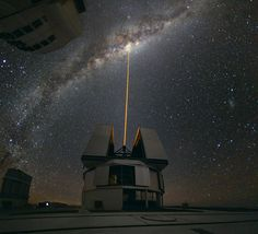 In mid-August 2010, Yuri Beletsky snapped this photo at ESO's Paranal Observatory, Chile. A group of astronomers were observing the centre of the Milky Way using the laser guide star facility at Yepun, one of the four Unit Telescopes of the Very Large Telescope (VLT).