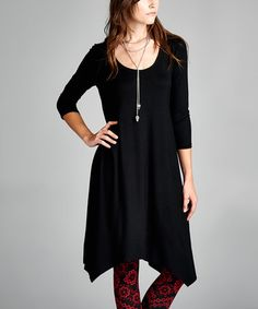 Another great find on #zulily! Black Three-Quarter Sleeve Handkerchief Tunic by Dolce Bianca #zulilyfinds