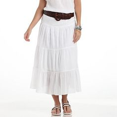 Chaps Tiered Crinkle Maxi Skirt - I have a skirt like this.  Love it.