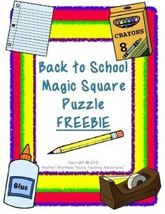 Let your students enjoy the first days of school with these Magic Square Puzzles! These addicting puzzles will have your students match school supply pictures with the corresponding words. If you plan to use other Magic Square Puzzles in your classroom this year, these would be a great starter to help your students get the concept early in the year.