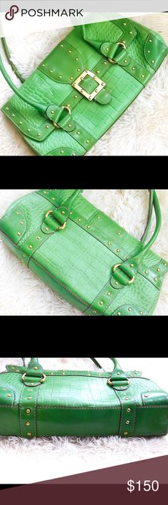 """Authentic Michael Kors Tote Bag A super awesome crocodile green tote Handbag. Brand: Michael Kors Condition is used. Some wear shows but bag is overall in good shape. Measurements: 14.5""""l 7.5""""t 3.5""""w There is a mark on the front flap shown in pics and also a pen mark on the inside lining that doesn't show when the bag is closed. (Also in pics) No lowballs, accepting reasonable offers. Michael Kors Bags Totes"""