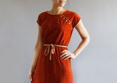 1970's rust day dress by mydrawingnumberone on Etsy, $46.00