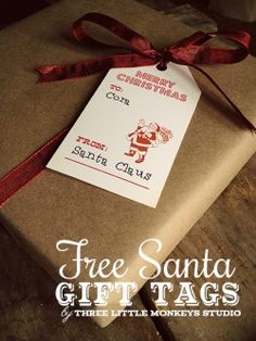 Three Little Monkeys Studio » {Free} Santa Gift Tags, printable  can edit names.