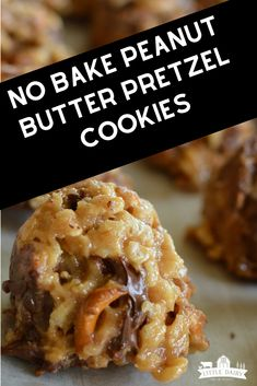 These no-bake peanut butter cookies are loaded with chocolate and pretzel pieces. They are the perfect sweet and salty dessert. Healthy No Bake Cookies, Easy Cookie Recipes, Homemade Desserts, No Bake Treats, Cookie Desserts, Yummy Cookies, Baking Recipes, Delicious Desserts, No Butter Cookies