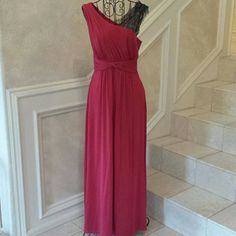 Red Evening Gown With Lace Detail